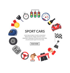 flat car racing icons in circle shape with vector image