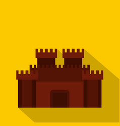 Fortress with gate icon flat style vector