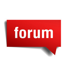 Forum red 3d speech bubble vector