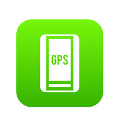 global positioning system icon digital green vector image