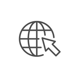 globe and arrow line outline icon vector image