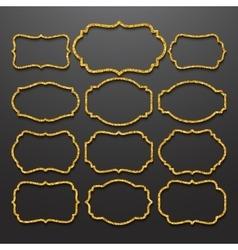 Golden frames vintage style vector