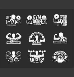 Gym emblem set vector