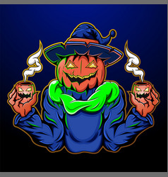 halloween character jack o lantern mascot vector image