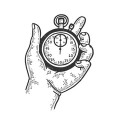 Hand with mechanical stopwatch sketch vector