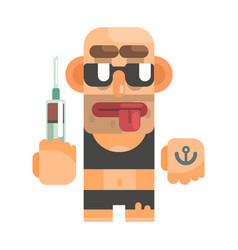 high junkie with drug syringe revolting homeless vector image