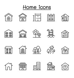 home icon set in thin line style vector image