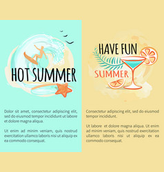 hot summer sea adventures set of banners with text vector image