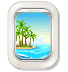 island view from plane window vector image