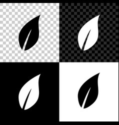 Leaf icon isolated on black white and transparent vector