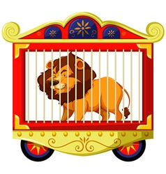 Lion in carnival cage vector image