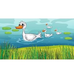 Little ducks following the mother duck vector