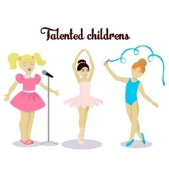 Little talented girls set vector image
