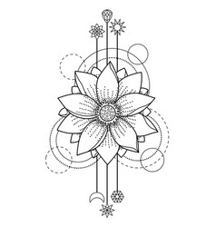 Lotus modern tattoo vector