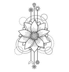 Lotus modern tattoo vector