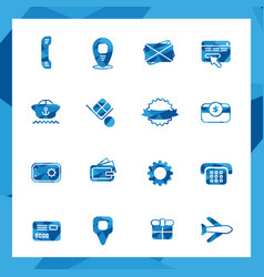 low poly commercial icon set vector image