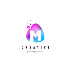 M letter dots logo design with oval shape vector