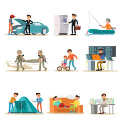 Male characters set vector