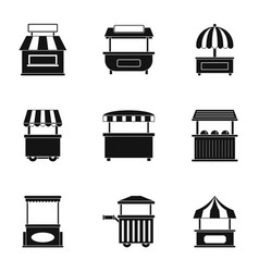 market tent icon set simple style vector image