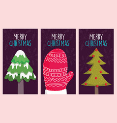 merry christmas celebration mitten and trees vector image