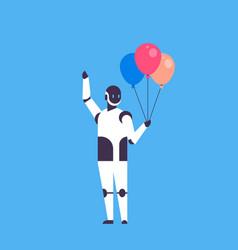 modern robot holding balloons celebrating event vector image