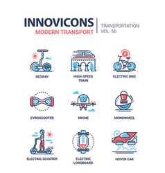 Modern transport - line design icons set vector