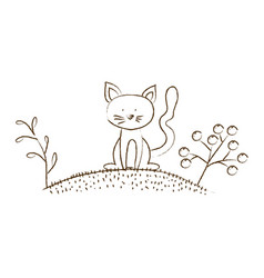 monochrome hand drawn silhouette of cat in hill vector image