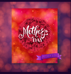 Mothers day card template with fuzzy ball vector