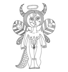 mystic creature nude woman with wings a vector image