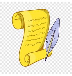 old paper scroll and feather icon cartoon style vector image
