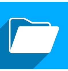 Open Folder Flat Square Icon with Long Shadow vector