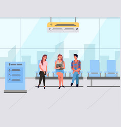 passenger sitting in waiting hall travel vector image