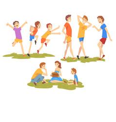 people enjoying summer vacations set happy boys vector image