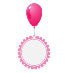 Pink balloon with abstract flower tag vector