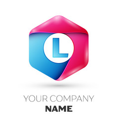 realistic letter l in colorful hexagonal vector image vector image