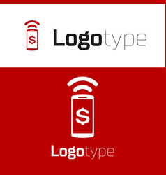 Red contactless payment icon isolated on white vector
