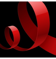 Red fabric glossy curved ribbon on black vector