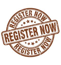 Register now brown grunge stamp vector