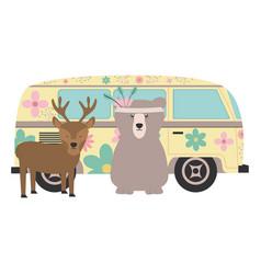 Reindeer and bear in hippie van bohemian style vector