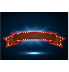 Ribbon retro background light banner with light bu vector