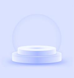 round light blue stage podium illuminated with vector image