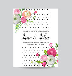 save the date card with blossom pink flowers vector image