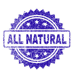 Scratched all natural stamp seal vector