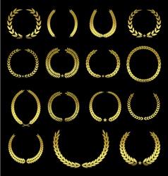 set 15 golden laurel leaves - design elements vector image