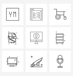 Set 9 line icon signs and symbols file vector