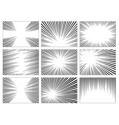 Set black and white gray radial lines comics vector