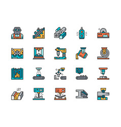set metallurgy industry color line icons vector image
