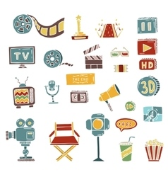 set of hand drawn cinema doodles vector image