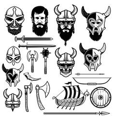 Set vikings icons vikings weapon ship helmets vector