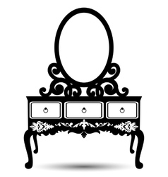 Silhouette console mirror vector